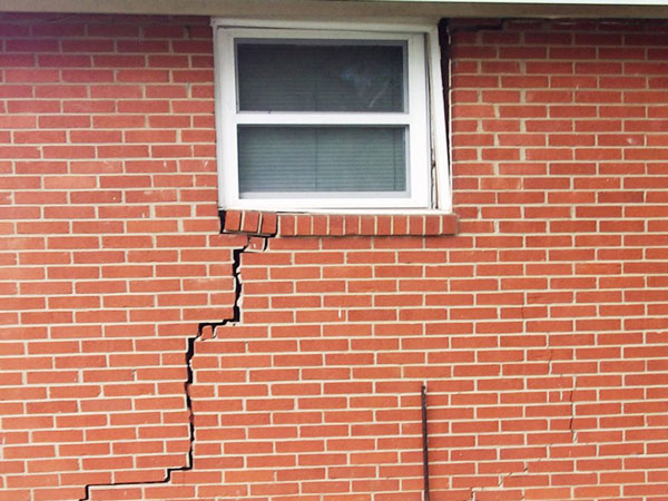 Brick crack in home with foundation settling