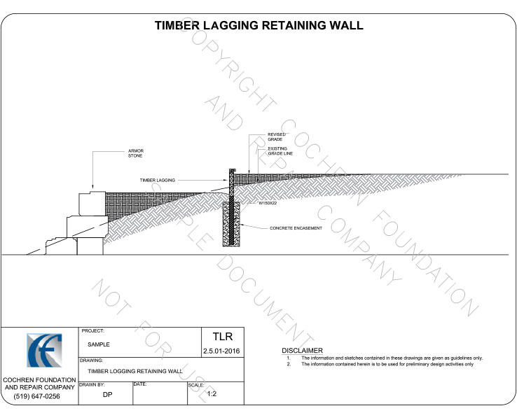 Timber lagging retraining wall